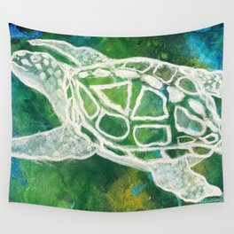 Cosmic Emerald Turtle Guardian Wall Tapestry