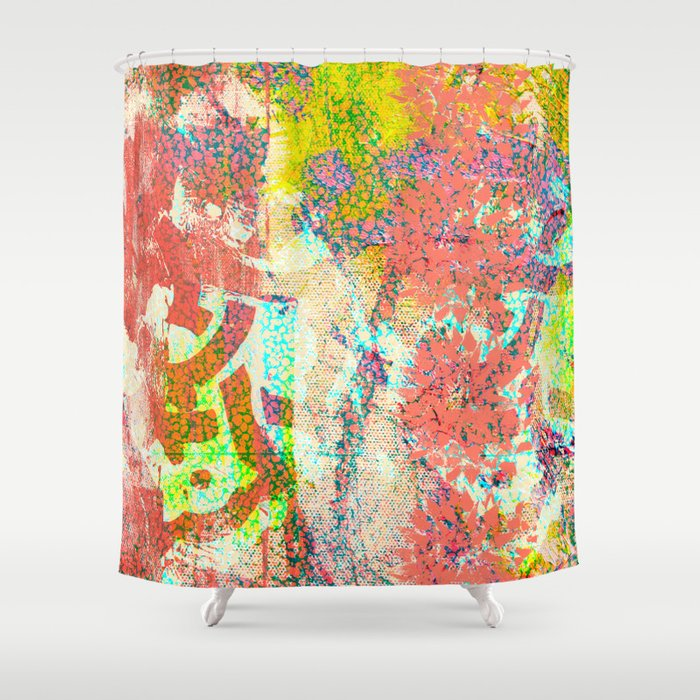 Living Coral abstract Shower Curtain