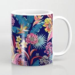 Navy Blue Purple Pink Flower Pattern Coffee Mug