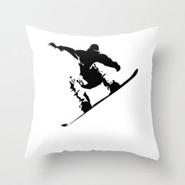 Snowboarding Black on White Abstract Snow Boarder Throw Pillow