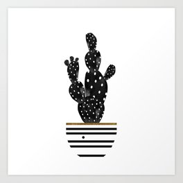 Cactus In Black Art Print