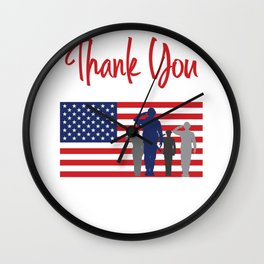 Thank You For Your Service Patriotic Veteran Wall Clock