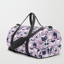 Cuddly Tea Time // white navy & light orchid pink animal mugs Duffle Bag