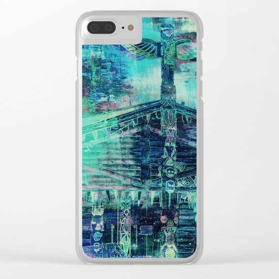 Totem Cabin Abstract - Teal Clear iPhone Case