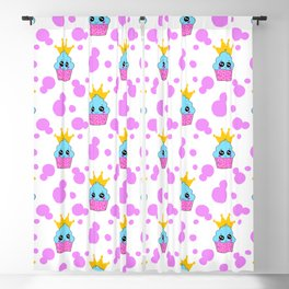 Cute little princess baby kawaii cupcakes, bold pink retro dots pretty purple girly nursery pattern Blackout Curtain
