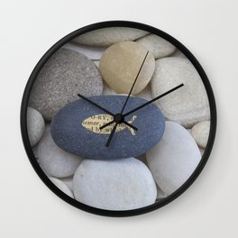 Mindful fish symbol on pebble Wall Clock