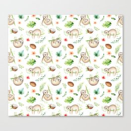 Tropical Sloths Pattern Canvas Print