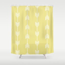 Running Arrows in White and Yellow Shower Curtain