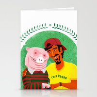 vegan Stationery Cards featuring Vegan by Bakal Evgeny