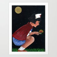 nurse Art Prints featuring nurse by Karen Constance Collage and Paintings