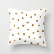 Golden touch II - Gold glitter polkadots Throw Pillow