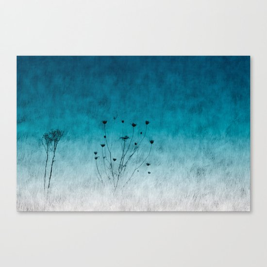 Blue Floral ~ silhouettes Canvas Print