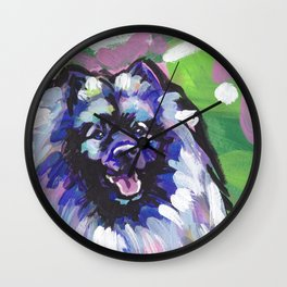 fun KEESHOND bright colorful Pop Art painting by Lea Wall Clock