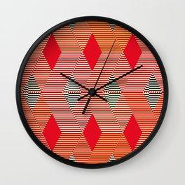 Mid-Century Diamond Warp Print, Coral Orange Wall Clock