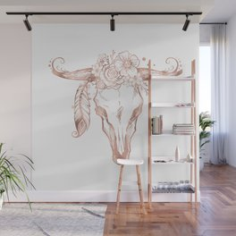 Rose Gold Bull Skull with Pink Feather Flowers Wall Mural