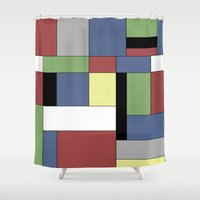 mondrian Shower Curtains featuring Mondrian #5 by Ron Trickett
