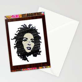 Lauryn Hill vintage fabric & wood grain patterned collage Stationery Cards