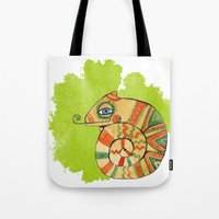 chameleon Tote Bags featuring Chameleon by Nina Ezhik