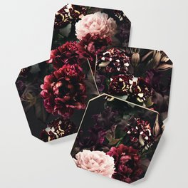Vintage bouquets of garden flowers. Roses, dark red and pink peony.  Coaster