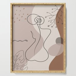Set of naked woman sitting back one line. Poster cover. Minimal woman body. One line drawing. No 1/3 Serving Tray