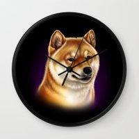 shiba Wall Clocks featuring Shiba Inu by Colour Pup