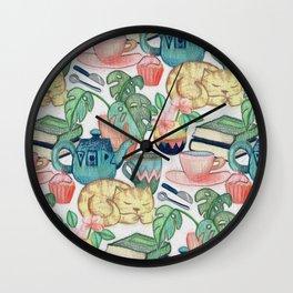 Lazy Afternoon - a chalk pastel illustration pattern Wall Clock