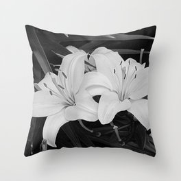 Contemporary Black White Lily Flower Floral Art A116 Throw Pillow