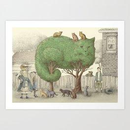 The Night Gardener - Cat Topiary  Art Print