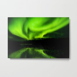 aurora borealis northern lights sky Metal Print