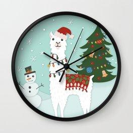 Santa Llama with Christmas Tree Wall Clock