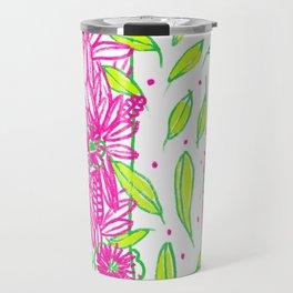 Funkly Floral Pink & Green Travel Mug