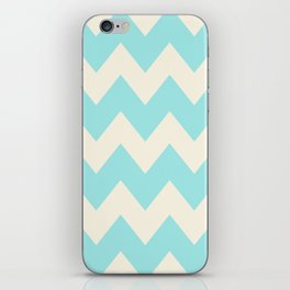 Zig zags - Teal and Beige iPhone Skin