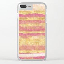 Gold Pink Glitz Stripes Clear iPhone Case
