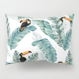 Toucans and Banana Leaves on White Pillow Sham