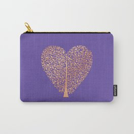 Rose Gold Foil Tree of Life Heart Carry-All Pouch