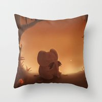 moustache Throw Pillows featuring Moustache by Ramona Treffers