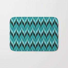 Turquoise and Black Bargello Pattern Bath Mat