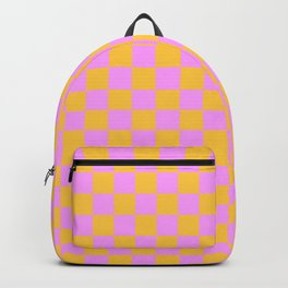 Pink and Orange Checker Backpack