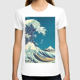Great Wave Off Kanagawa and Starry Sky T-shirt