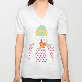 a cup of tea a day Unisex V-Neck