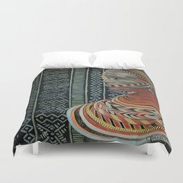 The Red Beads/mud cloth background Duvet Cover