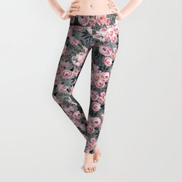 Night Rose Garden Pattern Leggings