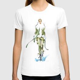 fashion #36: girl in a green fur jacket T-shirt