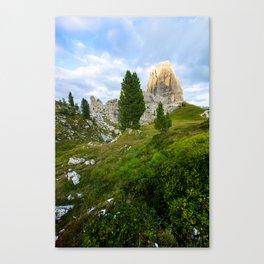 Cinque Torri rock formationas at sunset. Dolomites Canvas Print