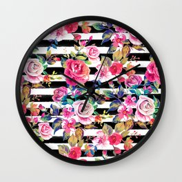 Cute spring floral and stripes watercolor pattern Wall Clock
