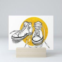 All stars converse on gold Mini Art Print