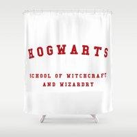 hogwarts Shower Curtains featuring Hogwarts by Fabian Bross