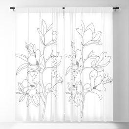 Minimal Line Art Magnolia Flowers Blackout Curtain