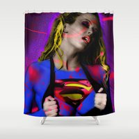 supergirl Shower Curtains featuring Supergirl by EarlyHuman