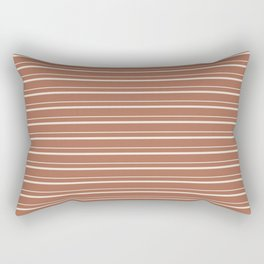 Sherwin Williams Creamy Off White SW7012 Horizontal Line Patterns 3 on Cavern Clay Warm Terra Cotta Rectangular Pillow